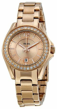 Fossil Women's ES2889 Riley Rose Gold Dial Watch: Watches: Amazon.com