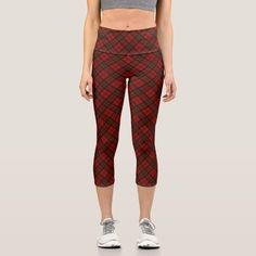 Adorable Red Christmas tartan pattern Capri Leggings - tap/click to personalize and buy #CapriLeggings #christmas #tartan #red #elegant #festive Capri Leggings, Women's Leggings, Tartan Christmas, Tartan Pattern, Yoga Wear, Red Plaid, Look Cool, Things That Bounce, Cool Designs