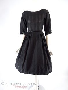 50s/60s Black Cotton Full Skirt Dress With Lace - sm by Better Dresses Vintage