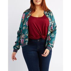 Charlotte Russe Floral Satin Bomber Jacket ($29) ❤ liked on Polyvore featuring plus size women's fashion, plus size clothing, plus size outerwear, plus size jackets, multi, women's plus size bomber jacket, zip jacket, blue bomber jacket, satin bomber jacket and zip up jackets
