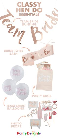 Throw an elegant bridal shower with classy pink & rose gold hen party accessories & decorations. Bridal Shower Games, Bridal Showers, Hen Night Ideas, Hen Ideas, Classy Hen Party Ideas, Hen Party Decorations, Hen Party Bags, Future Mrs, Hen Party Accessories