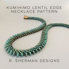 PDF File: Pattern for a Kumihimo necklace featuring 6mm lentils and 3mm magatamas on the edges.  Pattern is 2 pages and includes complete bead loading pattern. A separate 2 page PDF file provides instructions for finishing your braid two ways. Necklace length is approximately 18. Instructions include how to increase or decrease the length.  Techniques used: 8 warp cord 2-drop Kongo Gumi (beaded round braid), counted pattern. Prior experience with Kumihimo braiding with beads is essential…