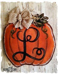 Sassy Monogrammed Thanksgiving Burlap Door Hanger, Fall Door Hanger, Pumpkin Door Hanger on Etsy, $35.00