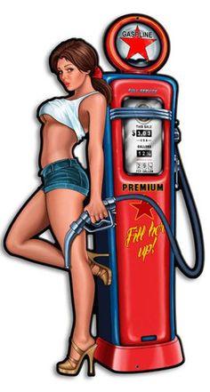 Pump Girl Custom Shape Metal Sign 14 x 24 Inches