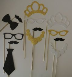 13 Pc Photo Booth Party Props Mustache on a Stick New Years 2014