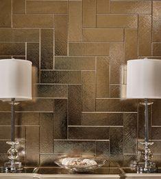 Impressions Hammered Silver x - AKDO Tile Dealers Gold Kitchen, Kitchen Tiles, Bath Tiles, Herringbone Tile, Brick Tiles, Gold Walls, Basement Flooring, Tile Design, House Design