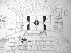Bedroom Drawing One Point Perspective bedroom in one point perspective interior drawing | drawings