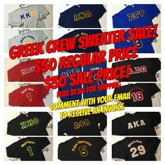 Comment with your email address below to receive an invoice.    Custom Fraternity/SororityCrew Sweater with your organizations letters on front and your line name and number on back.    We are offering ourCustom Greek Crew Sweatersfor $20OFF REGULAR PRICE UNTIL 11/27    Get YOUR order in TODAY for $30(plus $7.50 for shipping).    Greek Letters onfront chest,Line Name & Number on back. (Greek letters will include two main organization colors for letters and outline. Name & Number on…