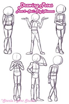 Shy Poses: Here is a quick reference page for shy or nervous poses. For more tips visit the video linked to this pin! (Drawn by Starla's Art Studio YT) #references #digitalart #poses #shy #sketches #referecepage Drawing Reference Poses, Gesture Drawing Poses, Sketch Poses, Drawing Base, Body Drawing, Manga Drawing, Human Figure Drawing, Cute Drawings, Art Tutorials