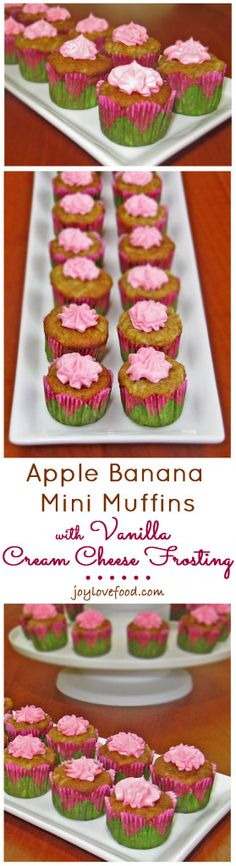 Apple Banana Mini Muffins with Vanilla Cream Cheese Frosting
