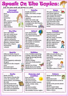 Speak on the topics worksheet – Free ESL printable worksheets made by teachers - Bildung English Speaking Skills, Learning English For Kids, English Language Learning, English Vocabulary, Teaching English, English For Students, English Lessons For Kids, Education English, French Language