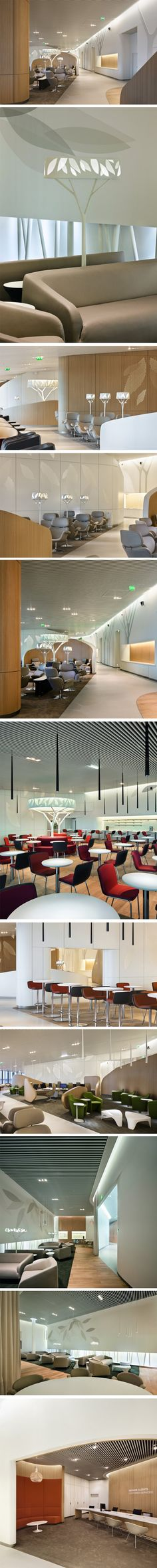 Business Lounge d'Air France par Noé Duchaufour-Lawrance et Brandimage Airport Lounge, Hotel Lounge, Office Lounge, Bar Lounge, Lounge Seating, Travel Lounge, Seating Plans, Workplace Design, Healthcare Design