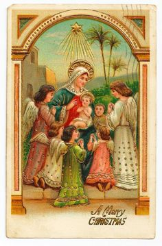 Vintage c1910 RELIGIOUS CHRISTMAS Nativity Postcard - Baby Jesus - Virgin Mary Surrounded by Child-Like Angels - German-Made - Heavily Embos...