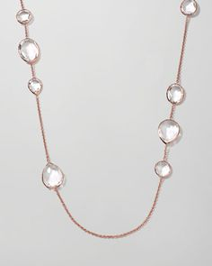 "Rose Rock Candy Clear Quartz Paparazzi Chain Necklace, 43"" by Ippolita at Bergdorf Goodman."