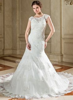Wedding Dresses - $236.99 - Trumpet/Mermaid Scoop Neck Chapel Train Lace Wedding Dress With Beading Sequins (002040732) http://jenjenhouse.com/Trumpet-Mermaid-Scoop-Neck-Chapel-Train-Lace-Wedding-Dress-With-Beading-Sequins-002040732-g40732?ver=1