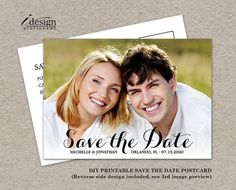 DIY Printable Photo Save The Date Cards by iDesignStationery