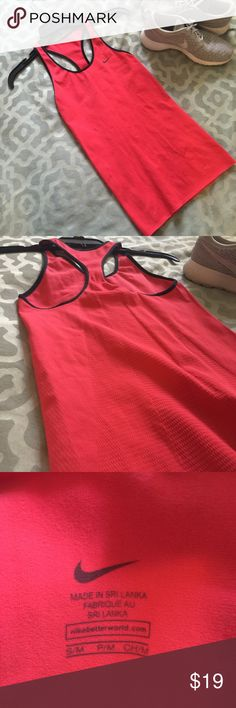 Red Nike dri-fit tank mesh detail onback S/M NWOT Nike dri-fit tank mesh detail onback S/M, very stretchy and breathable worn once basically NWOT Nike Tops Tank Tops