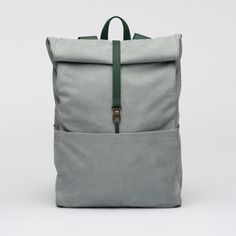 Backpack-Leather- Oyster Malachite- bag- Integrated Laptop Case-Roll-Top-Padded Back-Several Inner and Outer Pockets-1
