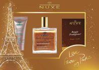 NUXE Zestaw Świąteczny Olejek suchy z drobinkami złota 50ml + Fluid Nuxellence Jeunesse 15ml + świeczka