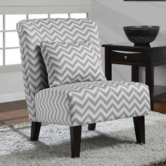 @Overstock.com.com - Add a trendy touch to your living space with this grey and white chair from Anna. A popular chevron print and espresso finish highlight this chair.  http://www.overstock.com/Home-Garden/Anna-Grey-White-Chevron-Accent-Chair/7009146/product.html?CID=214117 $199.99