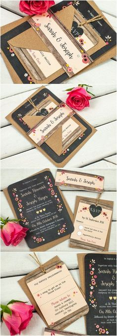 Berry Floral Chalkboard wedding invitation bundle - Fall Autumn Wedding...