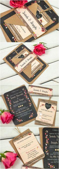Berry Floral Chalkboard wedding invitation bundle - Fall Autumn Wedding...