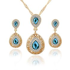 Jewelry Sets Double Water Drop Crystal Earrings Gold Color Rhinestone  Pendant Necklaces For Women Engagement Bridal Wedding Set c6c87a16dd03