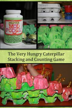 The Very Hungry Caterpillar inspired game using upcycled egg cartons.