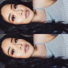"Alva Jay on Instagram: ""Sitting sideways  double tap for tutorial  Lashes: Samantha w/mascara @shophudabeauty @hudabeauty Lenses: Twins Aqua @flashyandbroke Eyes: holy grail & drenched metal palettes @shopvioletvoss Lips: #literally gloss @kyliecosmetics Highlight: gilded honey @lauragellerbeauty Bronzer: give me sun #maccosmetics & Hoola @benefitcosmetics brows: dip brow ebony #anastasiabrows"""