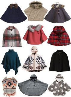 Capas y ponchos para niña (Ponchos and capes for a little girl.)                                                                                                                                                                                 Más #KidsFashion