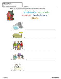 Rooms in Spanish #Spanishworksheets #ClassroomIQ #newteachers
