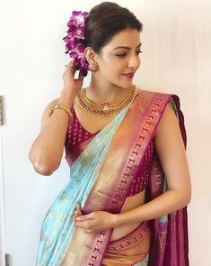 Kajal Aggarwal saree stills at Vidhatri Shopping Mall launch Saris, Silk Sarees, Dhoti Saree, Brocade Saree, Banarsi Saree, Anarkali Kurti, Silk Brocade, Indian Sarees, Saree Wearing Styles