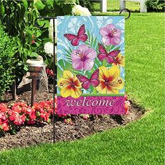 JoyPlus Welcome Butterfly & Flower Garden Flag - Vertical Double Sided Spring Decorative Rustic/Farm House Small Decor Flags Set for Indoor & Outdoor Decoration, 12 X 18 Inch by