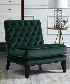 Loving this Green Tufted Accent Chair on #zulily! #zulilyfinds