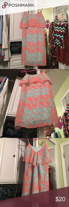 CR - Pink and Aqua Chevron Dress ✨Used only once, and matched it with a denim jacket. Perfect for summer! XS, and would say it is true to size. I was a small at the time and it still fit pretty nicely and firmly. So yeah, more true to size! Reasonable offers accepted! ✨ Charlotte Russe Dresses