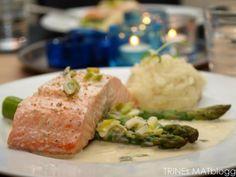 Dampet laks med vårløksaus og potet- og sellerirotpurè. #salmon #laks #fisk #fish