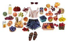 """""""froot"""" by nightlikethis ❤ liked on Polyvore featuring Birkenstock, Jean-Paul Gaultier, River Island, Bormioli Rocco, AG Adriano Goldschmied, Pavilion Broadway, Disney, Pier 1 Imports, FRUIT and Ceres"""