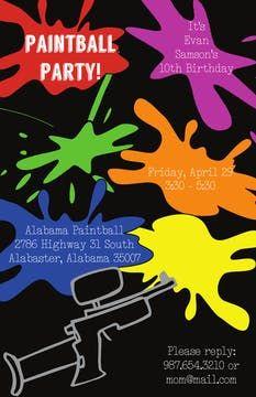 Kids Birthday Invitations - partyinvitations.com Birthday Invitations Kids, Paintball, 10th Birthday, Free Paper, Invitation Design, 10 Year Anniversary