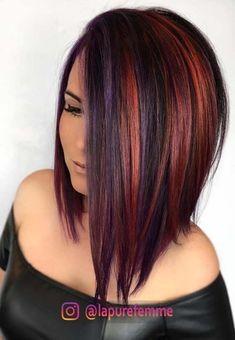 18 medium length angled bob hairstyles - Madame hairstyles - Frisuren - Your HairStyle Hair Color 2018, Hair 2018, Cool Hair Color, Hair Color And Cuts, 2018 Hair Color Trends, Fall Hair Cuts, Hair Cuts Edgy, Red Hair Colour, Amazing Hair Color