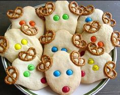 Fun cookies, but I would use chocolate covered pretzels instead.