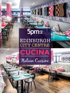 Cucina is a vibrant, bustling restaurant, open all day from breakfast until late. Using fresh, seasonal ingredients and hearty flavours, Cucina's authentic modern cooking is inspired by classic Italian cuisine. Edinburgh City Centre, Book Restaurant, Classic Italian, Salons, Spa, Vibrant, Fresh, Inspired, Cooking