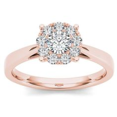 De Couer 10k Rose Gold 1/2ct TDW Diamond Cluster Ring (735 NZD) ❤ liked on Polyvore featuring jewelry, rings, h, jewelry & watches, pink gold jewelry, engagement rings, rose gold jewellery, red gold ring and cluster rings