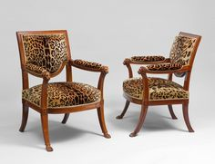 Georges JACOB, master in 1765 A pair of Jacob chairs A pair of important mahogany fauteuils carved with lions. Paris, circa 1790.