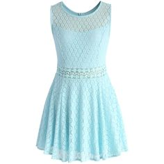 Chicwish Daisy Lacey Skater Dress in Mint Blue (72 SGD) ❤ liked on Polyvore featuring dresses, blue, blue crochet dress, cut out dresses, mint skater dress, mint green lace dress and blue skater dresses
