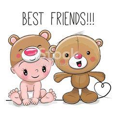 Cute Cartoon Baby in a Bear hat and Teddy Bear