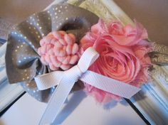 Gray and Pink Headband...Pink Shabby Chic by SweetChubbyCheeks, $8.50