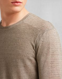Kester Crew Neck Sweater - Chino Melange Linen Shirts and Tops