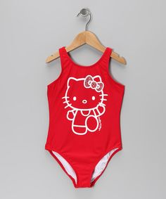 20c2247953576 Take a look at this Red Rhinestone Hello Kitty One-Piece - Girls by Hello