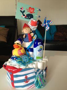 boy sailboat diaper cake