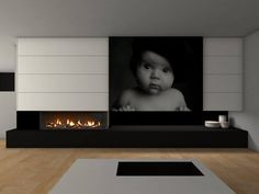 Living room with fireplace + children's photochildren